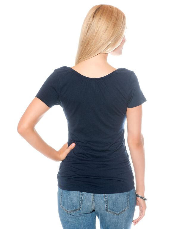 V-neck Pull Down Nursing Tee, Navy