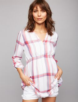 Luxe Essentials Denim Plaid Convertible Maternity Shirt- White/Red, White/Red Plaid