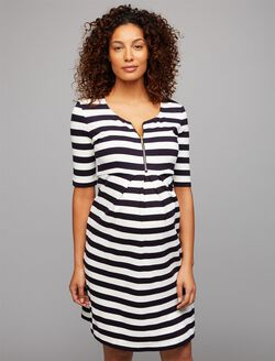 Isabella Oliver A-line Maternity Dress, Navy/White Stripe