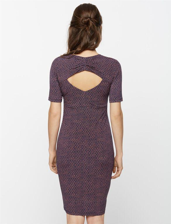 Back Interest Maternity Dress, Multi Print