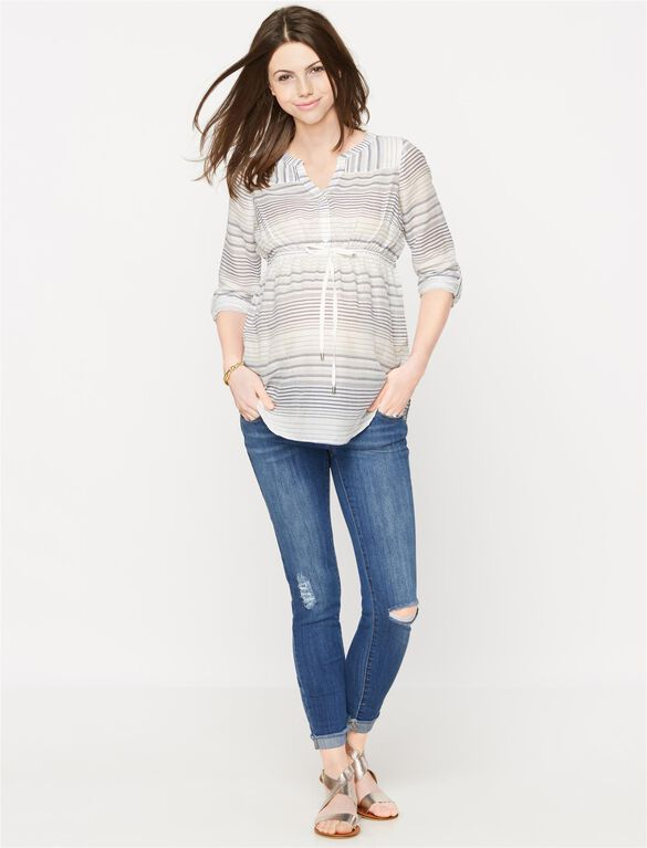 Luxe Essentials Denim Button Detail Maternity Tunic, Blue/White Stripe