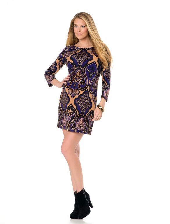 Screen Print Maternity Dress, Purple Combo