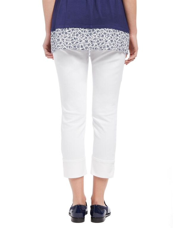 Secret Fit Belly Skinny Leg Maternity Crop Jeans, White