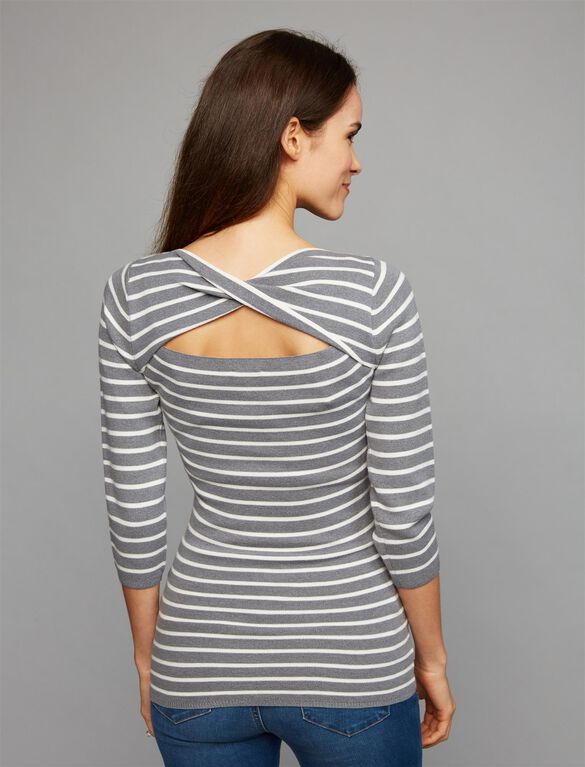 Back Interest Maternity Sweater, Grey/White Stripe