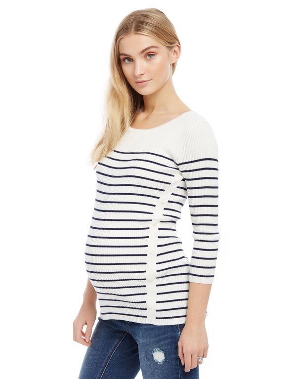 Ribbed Button Detail Maternity Sweater, Egret/Navy