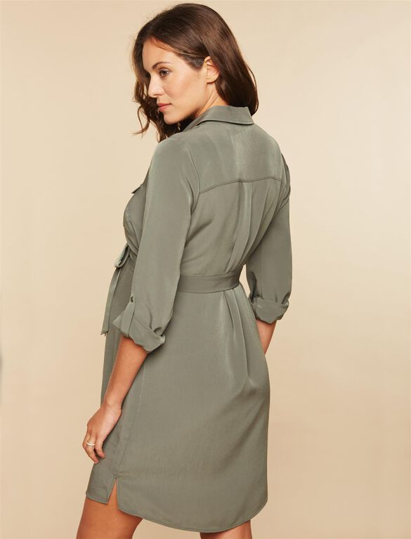 Tie Detail Maternity Dress, OLIVE