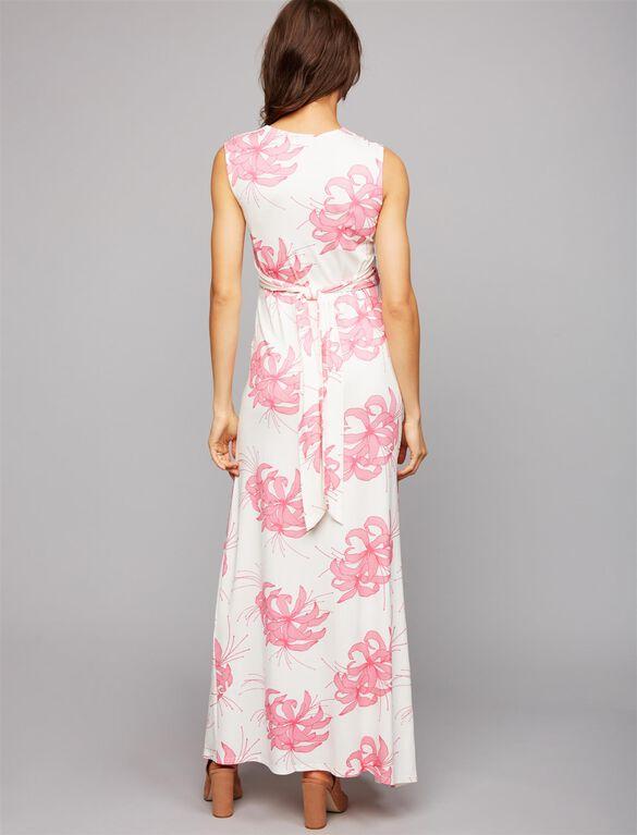 Madderson Serena Maternity Maxi Dress, Print White/Pink