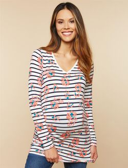 Side Ruched Maternity T Shirt, Striped Floral