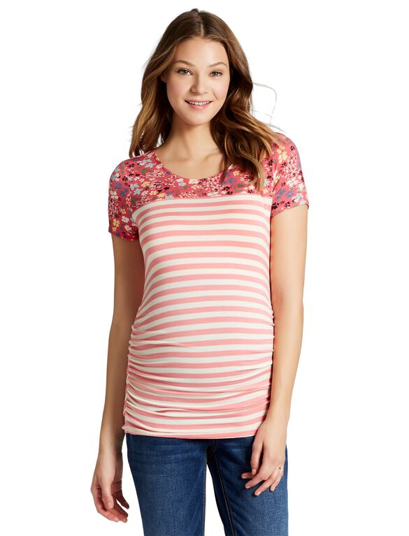 Jessica Simpson Side Ruched Maternity T Shirt, Tea Rose/Ecru