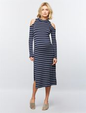 Splendid Cold Shoulder Maternity Dress, Navy Stripes