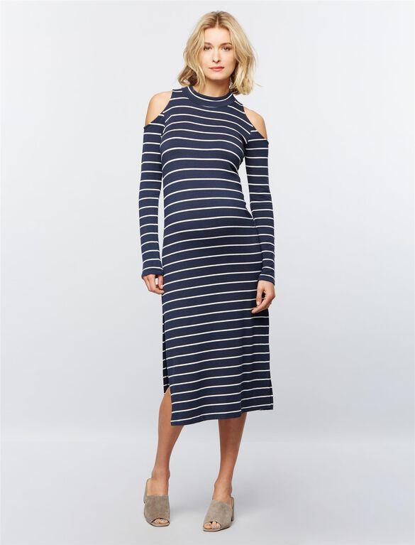 Splendid Cold Shoulder Maternity Dress, Navy Stripes