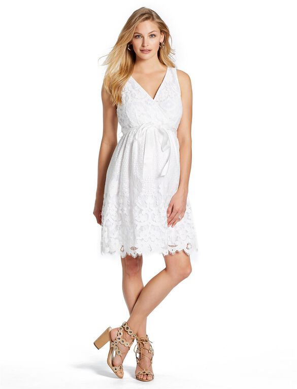 Jessica Simpson Lace Maternity Dress, White