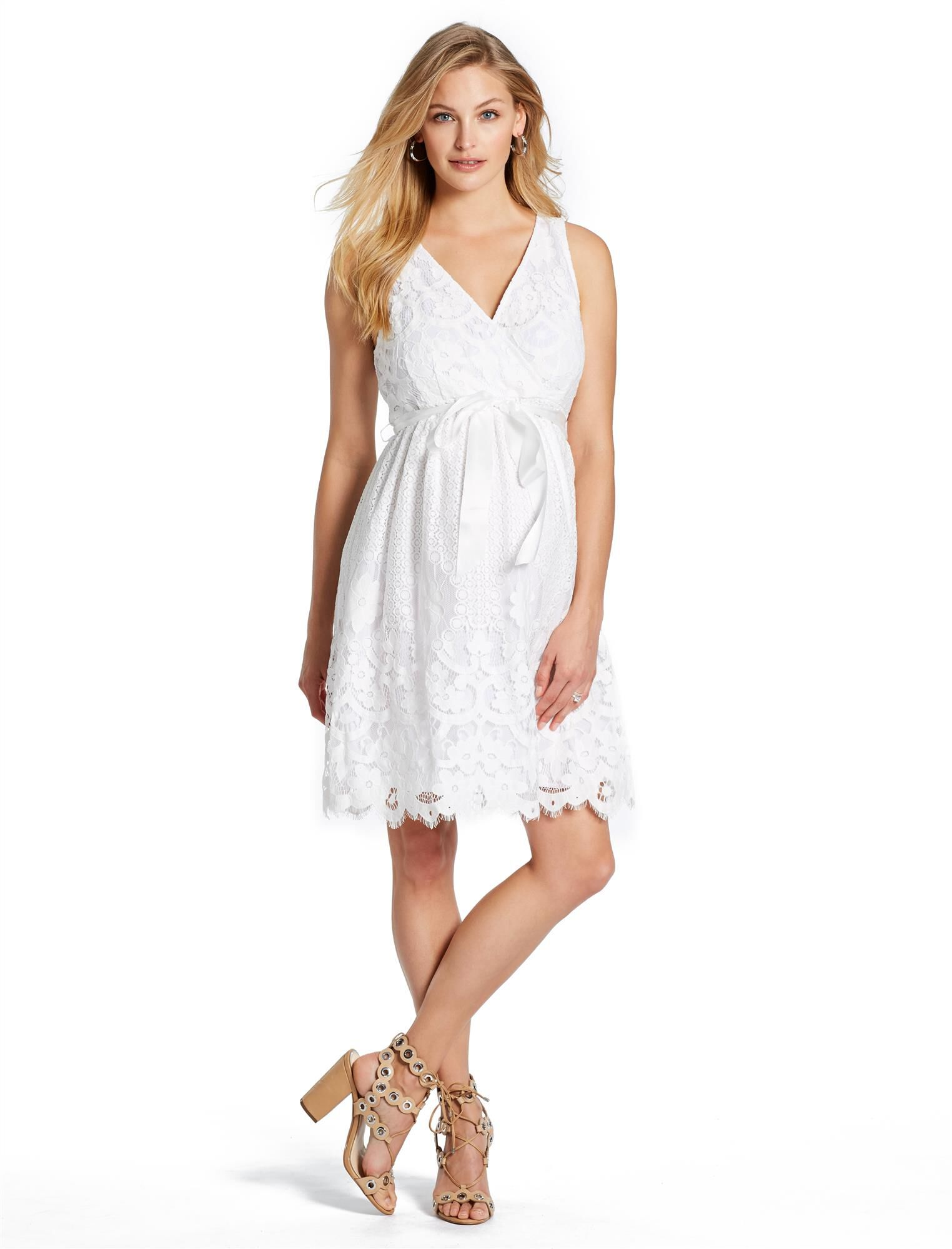 Good Jessica Simpson Lace Maternity Dress, White
