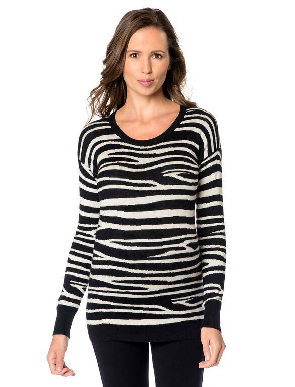 Drop Shoulder Maternity Sweater, Zebra Print