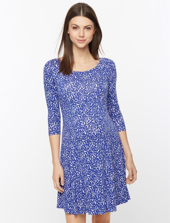 Isabella Oliver Maternity Dress, Blue Dash Print