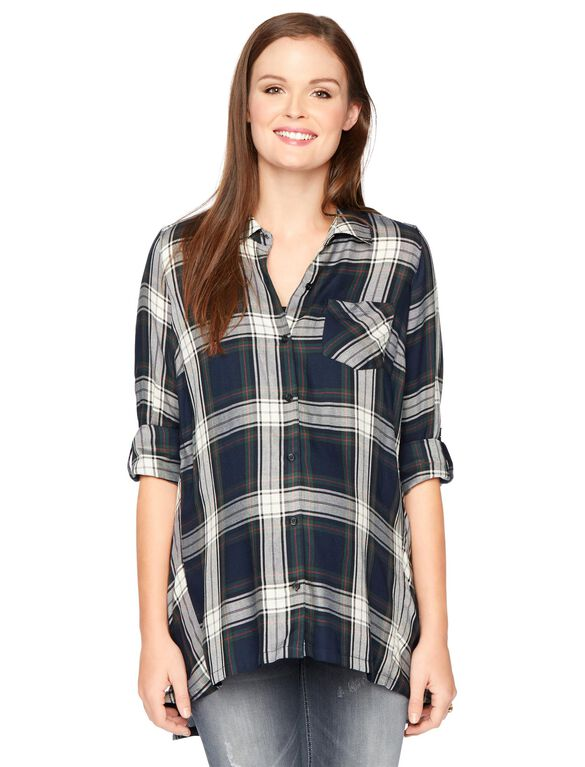 Button Detail Maternity Top, Green/Blue Plaid