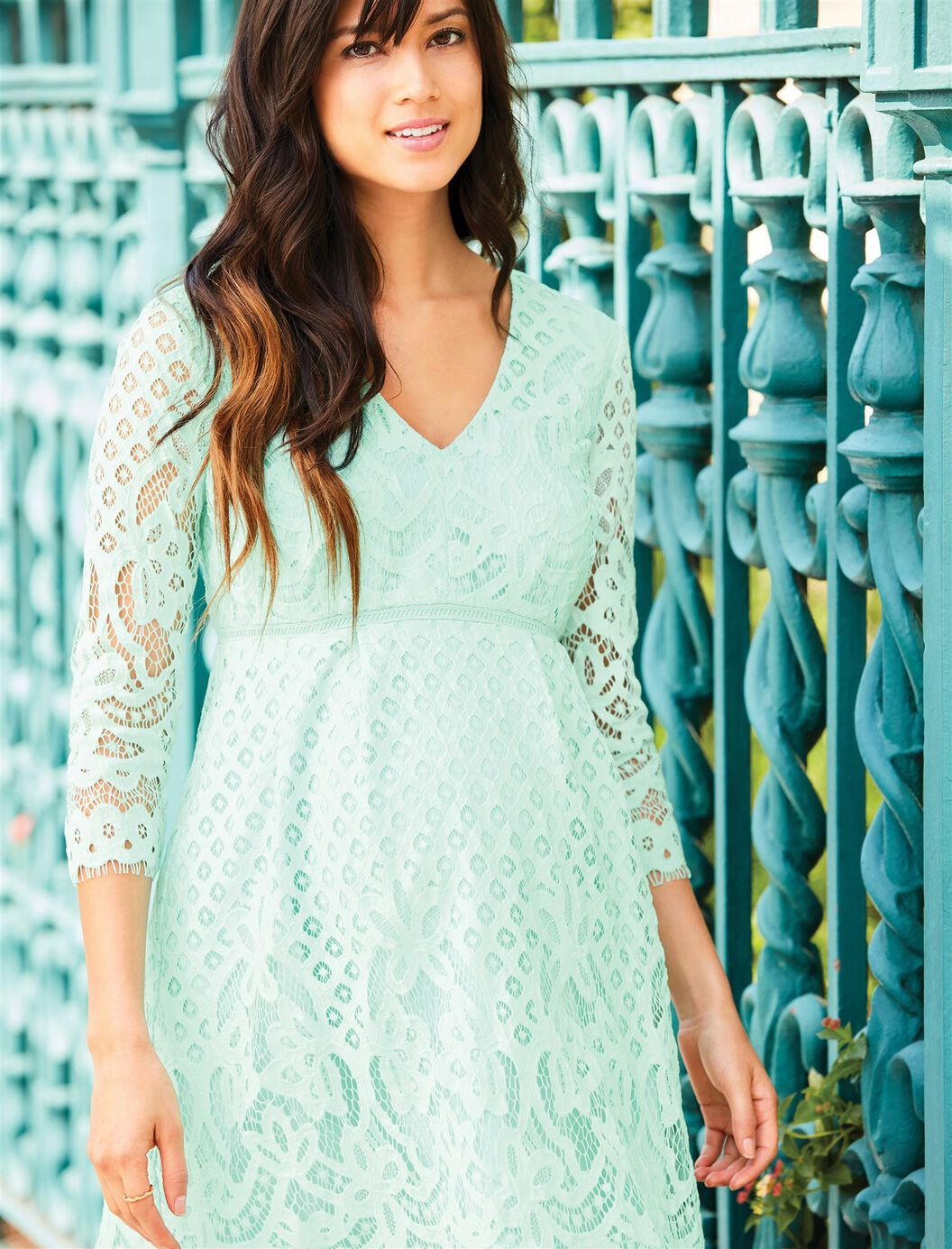 V neck lace maternity dress a pea in the pod maternity v neck lace maternity dress green ombrellifo Gallery