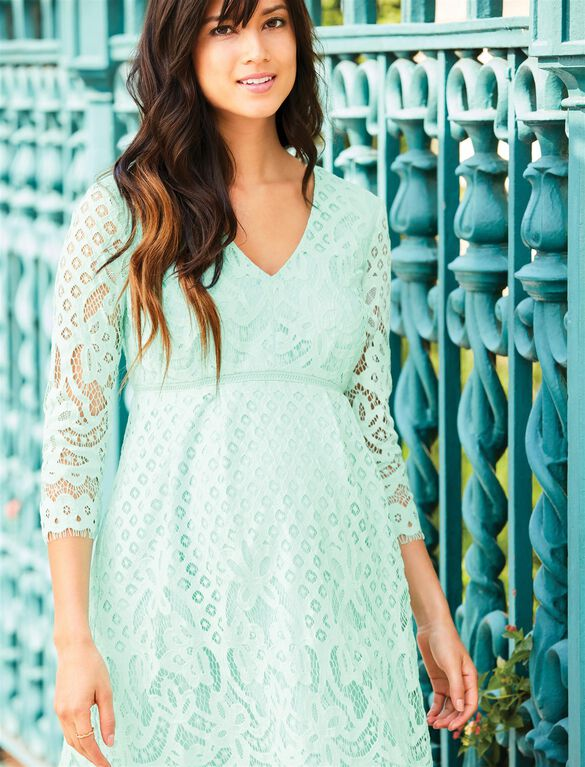 V-Neck Lace Maternity Dress, Green