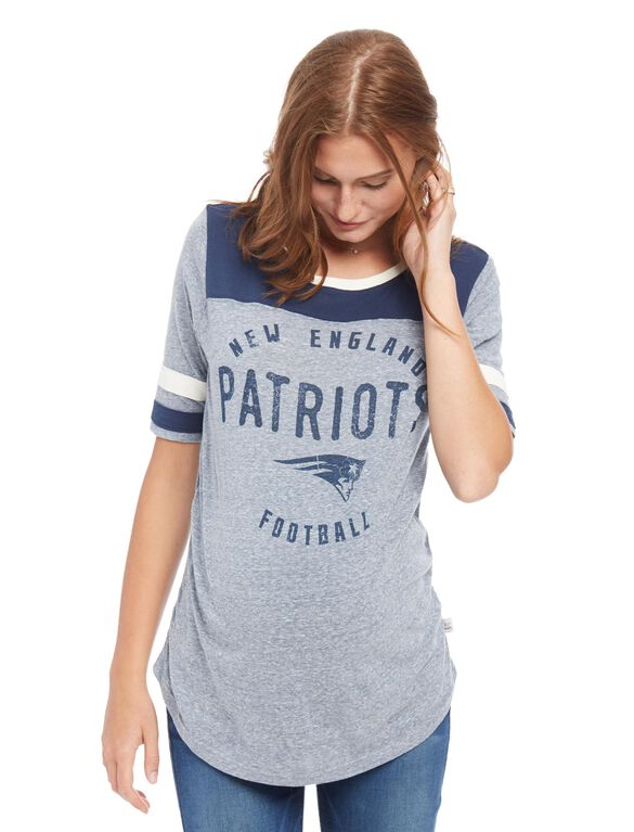 New England Patriots NFL Elbow Sleeve Maternity Graphic Tee, Patriots Blue