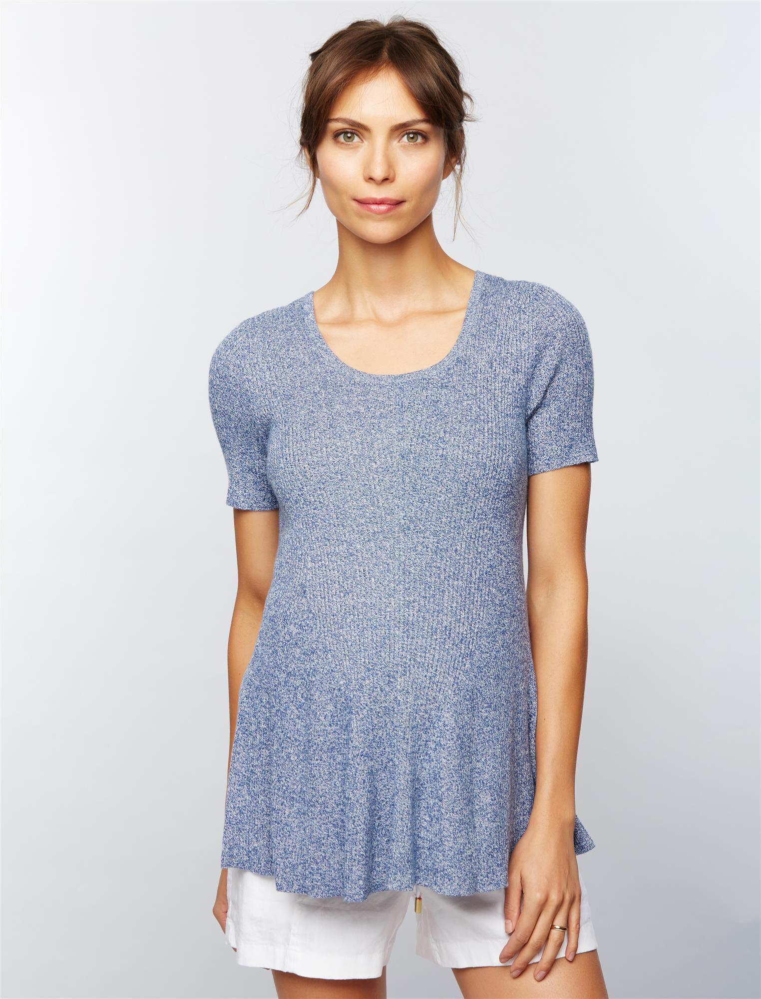 Rib Knit Peplum Maternity Sweater