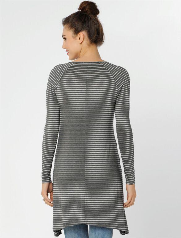 Isabella Oliver Striped Maternity Tunic, Grey Marl Stripe
