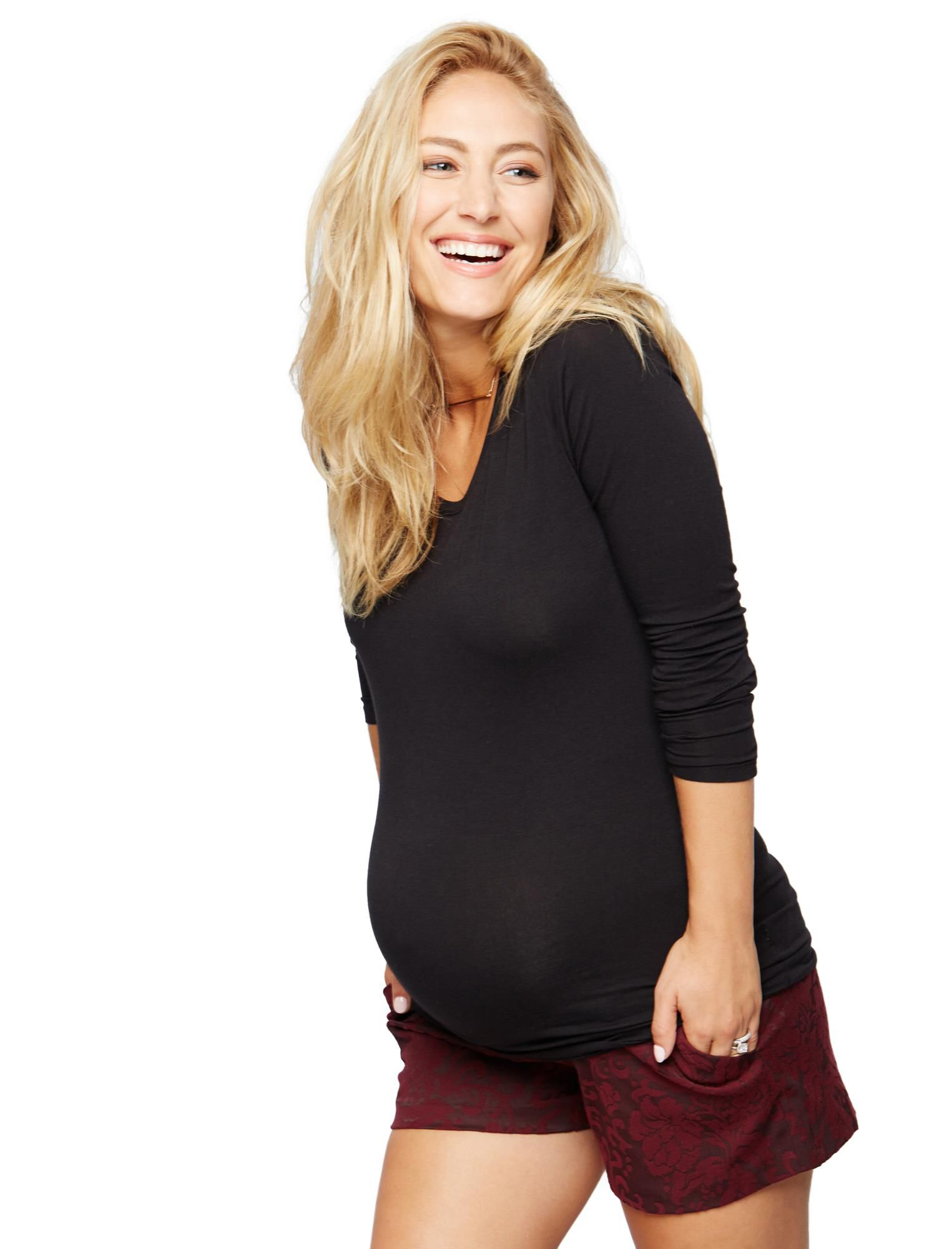 Secret Fit Belly Jacquard Maternity Shorts