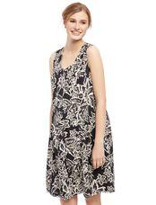 Swing Maternity Dress, Black/White Floral