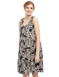 Swing Maternity Dress, Black/White Floral