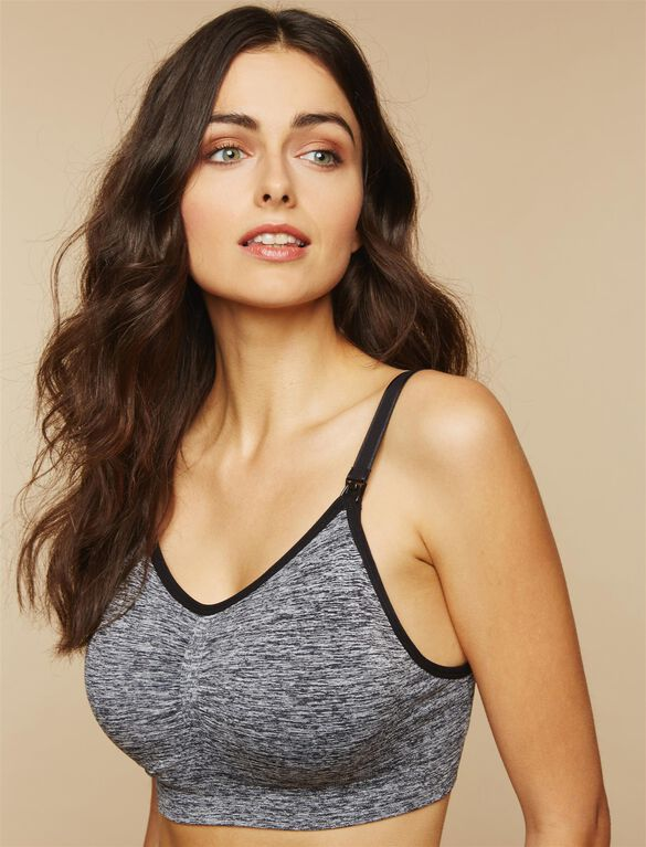 Full Busted Seamless Nursing Bra, Black & White