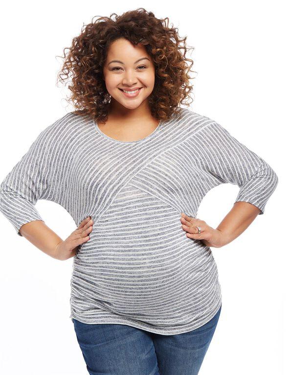 Plus Size Striped Dolman Maternity Top, Navy/White Stripe