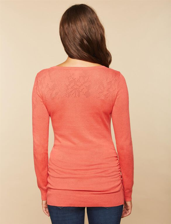 Side Ruched Maternity Sweater, Coral