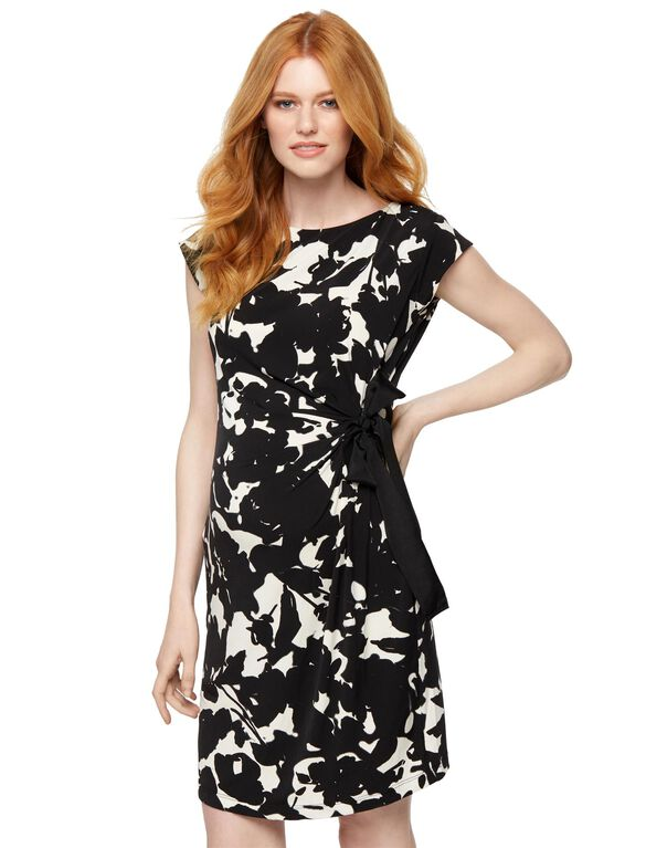 TAYLOR Side Tie Maternity Dress- Black/White, Black/White