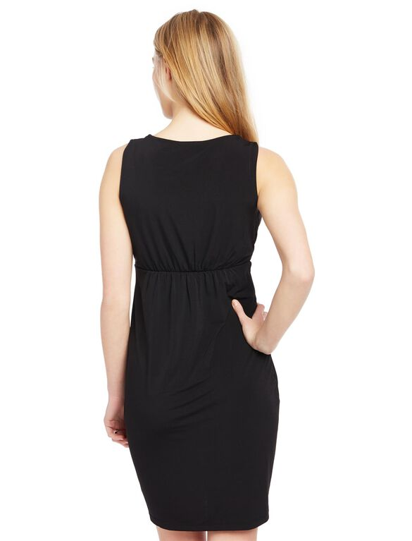 Lace Inset Maternity Dress, Black