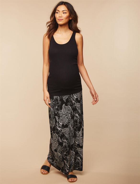 Fold Over Belly Front Slit Maternity Maxi Skirt, Black Floral