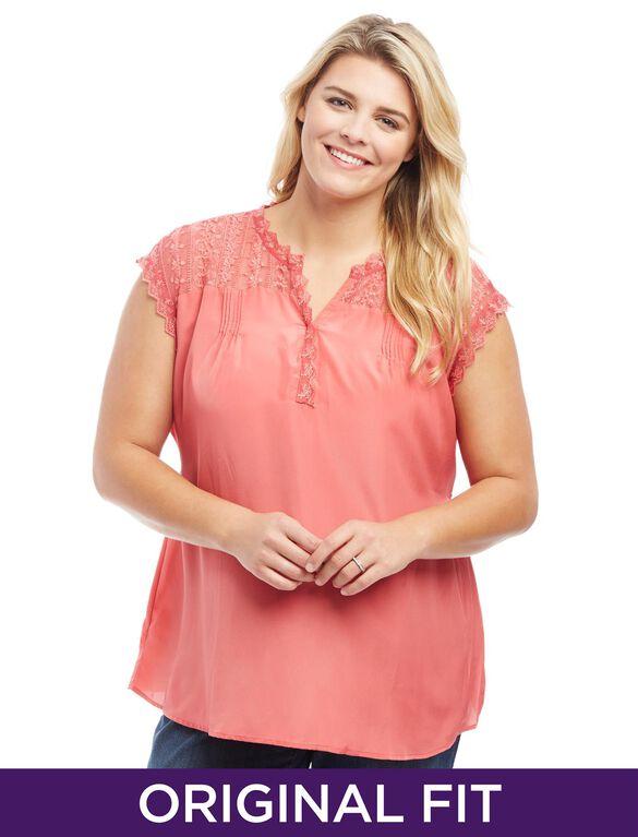 Plus Size Lace Trim Split Neck Maternity Top, Pink