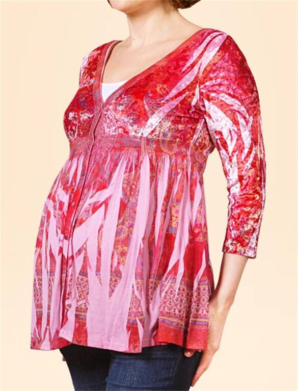 Button Front Maternity T Shirt, Print