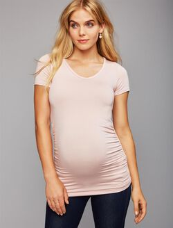 V Scoop Neck Side Ruched Maternity Tee- Solid, Lotus