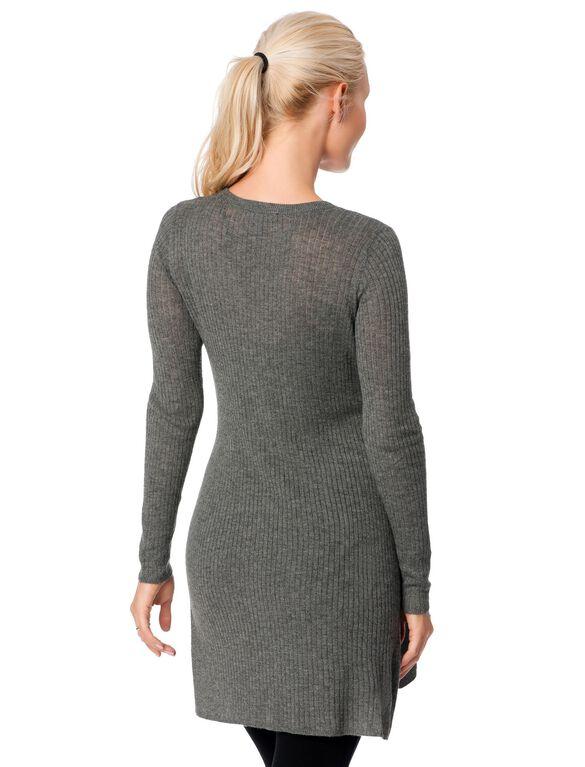 Side Slit Maternity Sweater, Medium Heather Gray