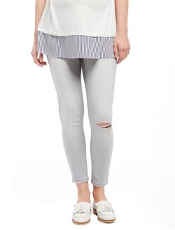 Secret Fit Belly Skinny Leg Maternity Crop Jeans, Misty Fog Grey