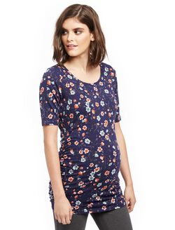 Elbow Sleeve Side Ruched Maternity Tee- Print, Floral