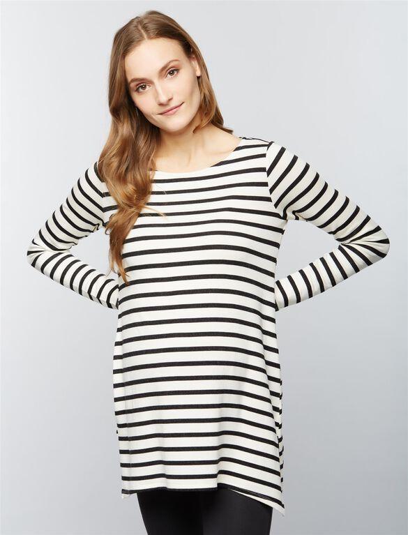 Super Soft Maternity Sweatshirt, Stripe Black/White