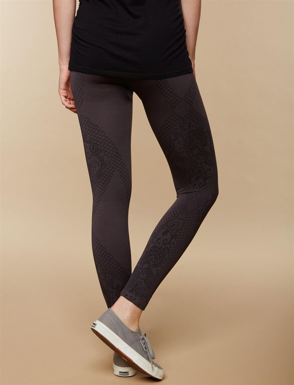 Under Belly Jacquard Print Maternity Leggings, Grey