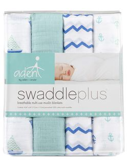 Aden By Aden + Anais Swaddle Plus 4 Pack, Sailing Star
