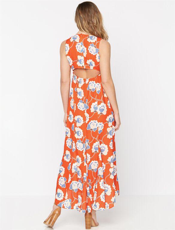 Printed Open Back Maternity Maxi Dress, Multi Print
