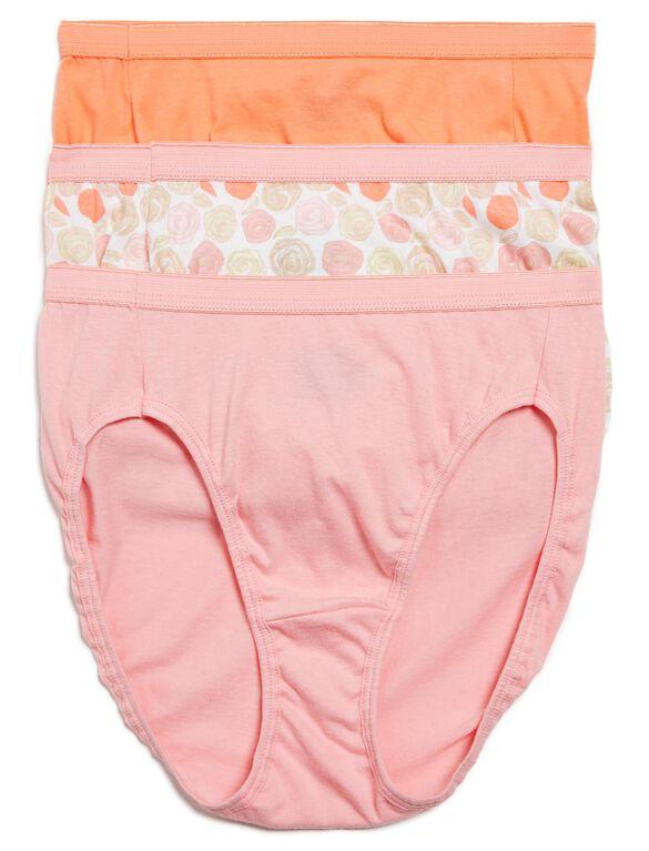 Printed Fabric Maternity Hipster Panties (3 Pack), Blk/Prpl Flrl/Stripe