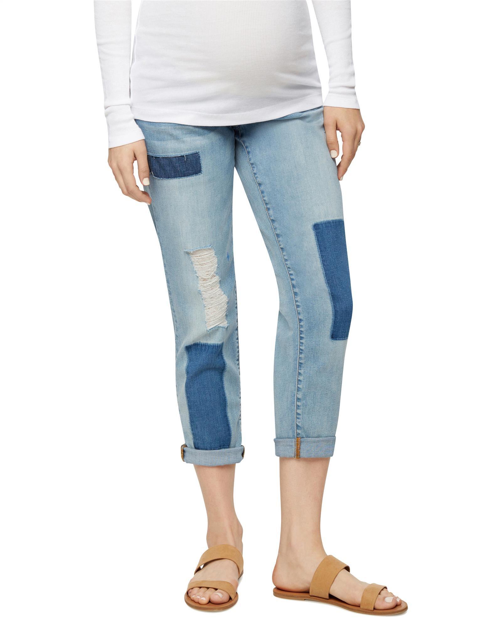 Luxe Essentials Denim Secret Fit Belly Patchwork Maternity Boyfriend Jeans