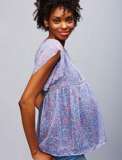 Jacquard Flutter Sleeve Maternity Blouse, Pink/Blue Floral