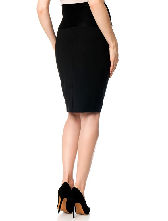 Secret Fit Belly Twill Pencil Fit Maternity Skirt, Black