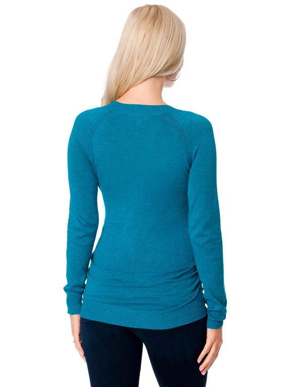 Side Ruched Maternity Sweater, Topaz Blue