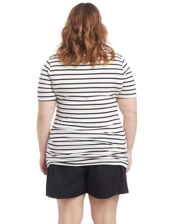 Plus Size Side Ruched Maternity T Shirt, Black/White Stripe